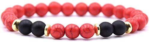 PRTOYO Pulsera de Piedra Mujer, 7 Chakra Piedra Natural Turquesa Red Turquesa Brazalete Elástico Yoga Lucky Bracelet Golden Hoop Jewelry para Damas Regalo de Pareja de Navidad