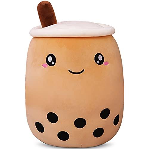 DITUCU Cute Boba Tea Plush Stuffed Toy Brown Pearl Milk Tea Bubble Plush Pillow Home Soft Hug Pillow Milk Tea Gift for Kids (Brown, 13.7 inches)