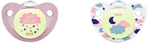 NUK Trendline Night Set mit 2Schnullern für Mädchen, Größe 2