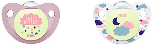 Nuk - ALLO3 - Trendline Night Sucettes pour Fille, Taille 3, 18-36 Mois, Set de 2