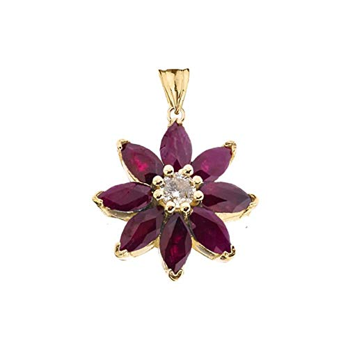 Exotic 14k Yellow Gold Daisy Diamond and Ruby Flower Pendant