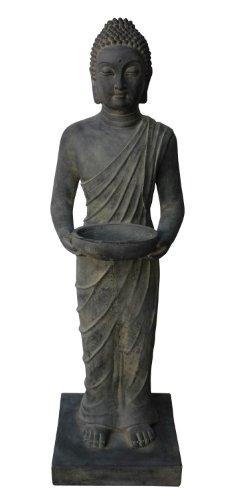 Stone-Lite stehende Buddha-Figur mit Schale für Haus und Garten, dunkelgrau, 102cm