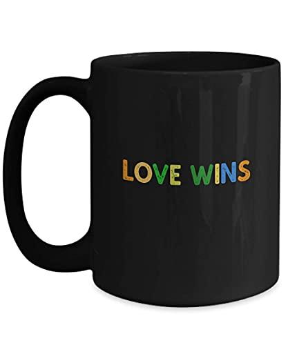 N\A Love Wins Taza de café Negra de 11 oz Cita Frase Refranes Regalo Cristiano