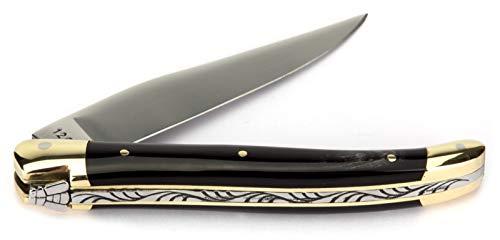 Laguiole Honoré Durand Taschenmesser Griff Horn 11 cm Messer Backen Messing Klinge glänzend