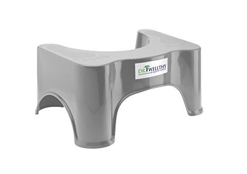 Dr. Wellthy - Medizinischer Toilettenhocker 41,5x24x17cm Grau - Gesunde Darmflora