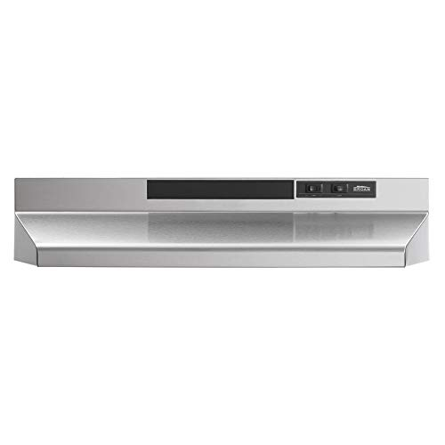 Broan-NuTone F403004 Insert with Light, Exhaust Fan for Under Cabinet Two-Speed Four-Way Convertible Range Hood, 30-Inch, Stainless Steel