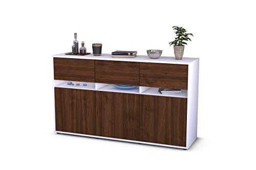 Stil.Zeit Sideboard Andrea/Korpus Weiss matt/Front im Holz-Design Walnuss (135x79x35cm) Push-to-Open Technik & Leichtlaufschienen