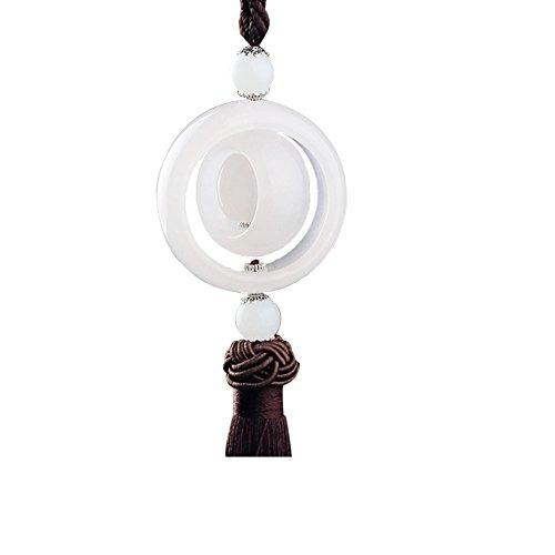 Cupcinu Car Ornaments Hängendes Zubehör Fahrzeug-Zubehör Rückspiegel Schmuck Anhänger Weißes Jade dekoratives Amulett Beten für Glück Sicherheit