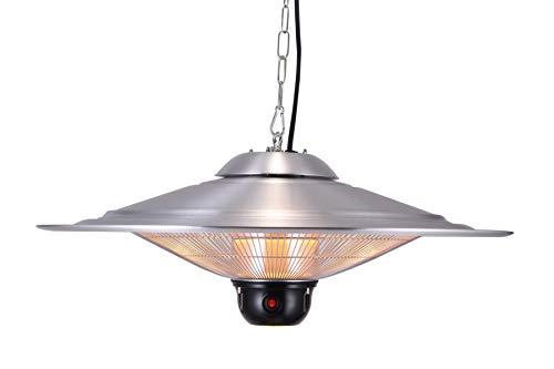 GREADEN - Parasol Chauffant Suspendu Infrarouge Saturn avec Télécommande, Lampe à LED - Chauffage électrique de terrasse à Halogène 2100W Radiateur Jardin/Intérieur