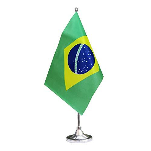 tibijoy Small Mini Brazil Desk Flag, Brazilian Office Flag,Desk Flag,for Home Garden Office Decoration,Festival Events Celebration,Home Decoration,Office Decoration