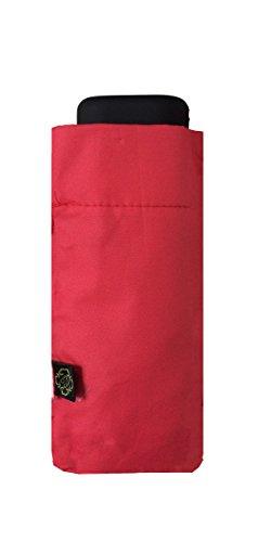SMATI Mini Parapluie Pliant Compact - Taille Poche 18cm, résistant au Vent, 200g Ultra léger, Manuel, Parapluie de Voyage, Parapluie Femme, Couleur Rouge Framboise