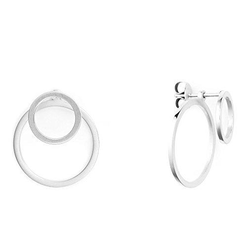 Heideman Ohrringe Damen Ewiger Kreis aus Edelstahl silber farbend matt runde Ohrstecker für Frauen 2 in 1 Ohrschmuck Doppelohrringe Doppel vorne und hinten