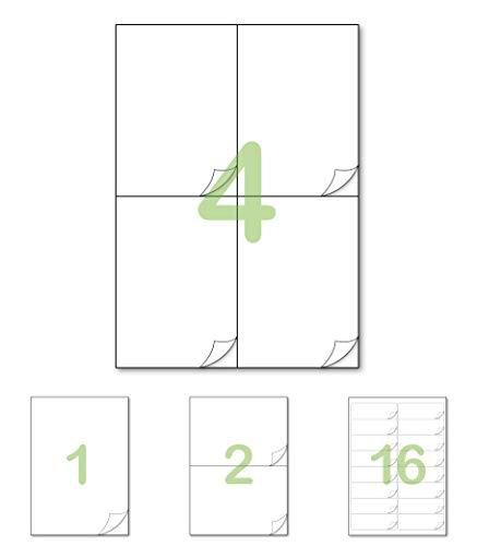 Gluetack –Etiquetas Adhesivas 105 x 148'5mm (A4)–25 Folios Adhesivos-4 Etiqueta/Hoja–100 Etiquetas - Papel de Pegatina...