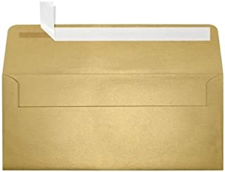 LUXPaper #10 Square Flap Envelopes in 80 lb. Blonde Metallic, Printable Business Envelopes for Corporate Letters and Legal Documents with Peel and Press, 50 Pack, Envelope Size 4 1/8 x 9 1/2 (Gold)