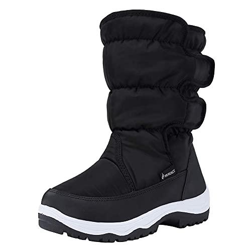 Women's Snow Boots Winter Waterproof Fur Lined Frosty Anti-Slip Warm Snow Boots U120WMX003-Black-38
