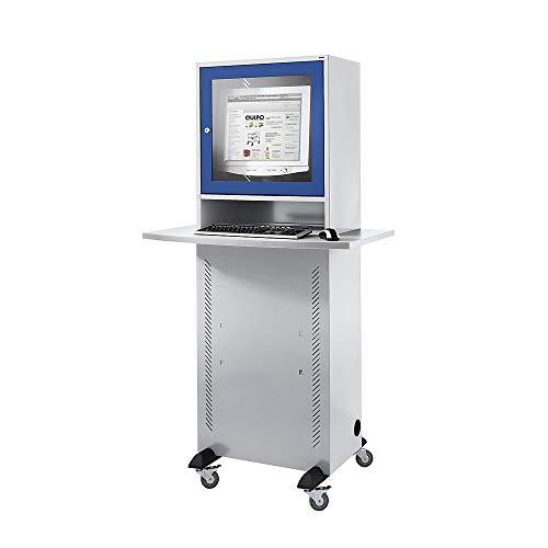 QUIPO Computerschrank - mit melaminharzbeschichteter Arbeitsplatte, lichtgrau/enzianblau - LAN-Schränke Computermöbel Computerschränke PC-Schränke EDV-Schränke PC-Stationen Workstations
