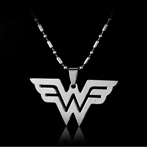Preisvergleich Produktbild zbzmm Halskette Comics Wonder Woman W Logo Edelstahl Anhänger Halskette Mode Film Schmuck Für Männer Frauen