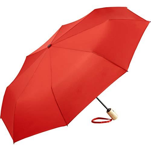 ÖkoBrella nachhaltiger Bambus-Taschenschirm ökologischer Regenschirm; Bezug aus recycelten Kunststoffen; Doppelautomatik (öffnen/schließen); Oeko-TEX® 100; Stabiler Bambus-Griff; Windsicher (Rot)
