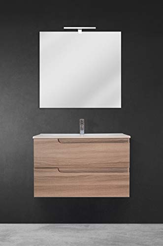 80x45x80 H cm Bianco Specchio Specchio Melamina 13Casa Atena B2 Set Mobile Bagno