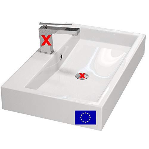 MYLAVABO Design Waschbecken 70cm zur Wandmontage oder als Aufsatzwaschbecken | Farbe: Weiss | 70x42cm | Material: hochwertiges Mineralguss | Made in EU | hochwertig verarbeitet