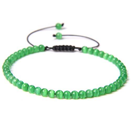 Pulsera de piedra natural del vintage Hombres Chakras Beads Pulseras ajustables Regalo de amor rico para mujeres Joyería de yoga hecho a mano 39green cat eye Adjustable
