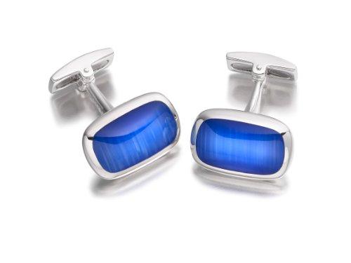 Hoxton London Herren Sterling Silber Blaue Katzenaugen Rechteckige Kissen Manschettenknöpfe