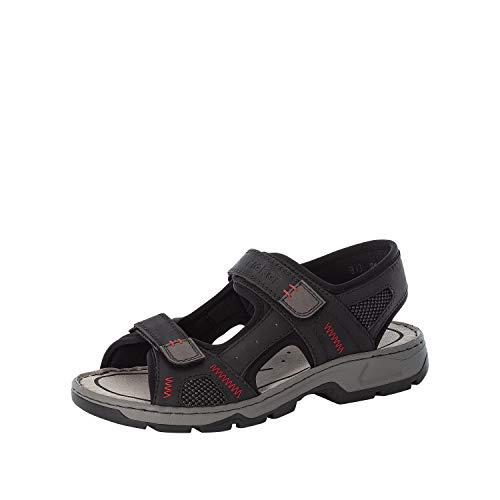 Rieker Hombre Sandalias 26174, de Caballero Sandalias clásicas,Zapato de Verano,Sandalia de Velcro,Sandalia,cómoda,Negro (Schwarz / 01),43 EU / 9 EU