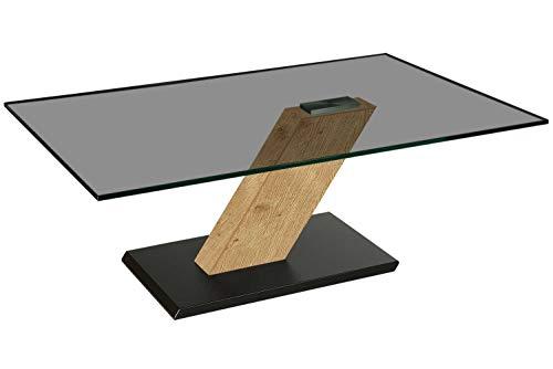 Paris218-A tischdesign24 Couchtisch 12mm Glasplatte. Schrägsäule in HPL-Ausführung. Bodenplatte Lack schwarz mit Rollen. Größe: 120x80cm Höhe: 46cm Tischplatte Parsolglas Gestell: Wildeiche
