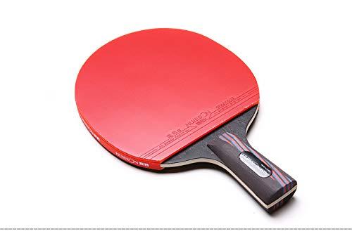 ZJH Murciélago de Tenis de Mesa de Fibra de Carbono, Paleta de Ping Pong Integral,Shorthandle