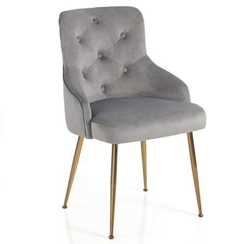 FCQuality Velvet Vanity Chair with Tufted Back Gold Metal Legs Dining Chair Mid Century Modern Upholstered Accent Desk Chair for Living Room Home Office Bedroom, Gray