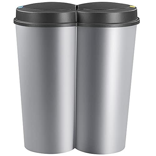 Poubelle double compartiment gris 2x25 litres avec bouton-poussoir automatique 50x53cm
