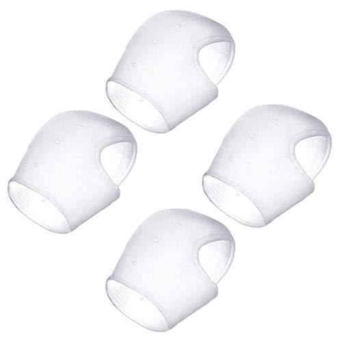 JZZJ 2 Pares Calcetines de Gel Silicona Calcetines Protector de Salón para Cuidado de Piel de Pies, Reducir Presión en Talón y Aliviar Dolor de Talón, 4 Piezas