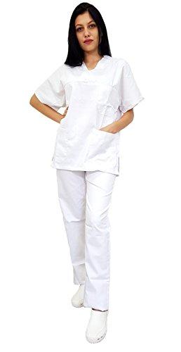 Tecno Hospital Divisa completa ospedaliera unisex, OSS, estetica, infermiere, casacca e pantalone (bianco, m)