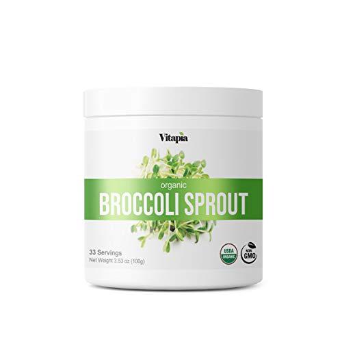 Vitapia Organic Broccoli Sprout Powder - High in Sulforaphane & Antioxidant, Anti-inflammatory, Immune, Cognitive Health Support - 30 Day Supply - Non GMO & Gluten Free