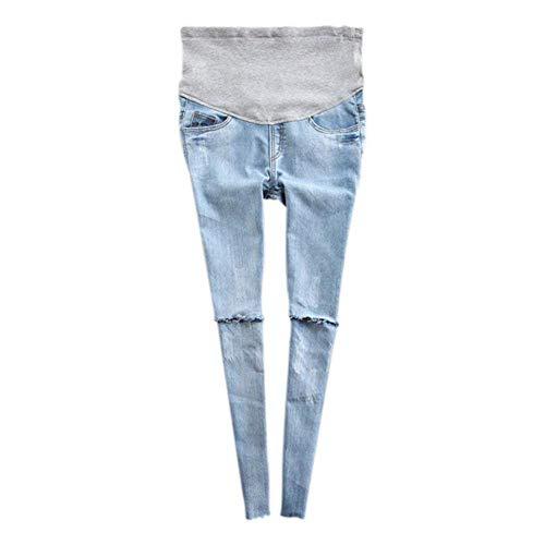 Frau Schwangerschaft Hose Jeggings Mutterschaft Einstellbar Zerrissene Jeans Bekleidung Vordertaschen High Waist Bleistifthose (Color : Licht Blau, Size : M)
