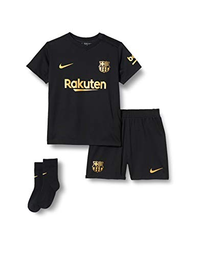 NIKE FC Barcelona Temporada 2020/21-FCB I NK BRT AWCD4606-011 Kit Completo Segunda Equipación, Niño, Black/Metallic Gold Full Sponsor, 6-9