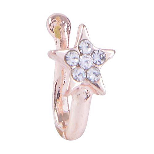 Clip en el anillo de la nariz falso no Piercing septo Clip de la nariz anillos de la nariz de cristal aro joyería del cuerpo, se destacará entre la - Oro rosa estrella