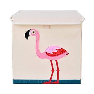 Bagnizer Kids Toy Storage Organizer with Flip-top Lid Foldable Fabric Toys Storage Chest/Bin/Trunk/Box/Basket for Girls and Boys Toddler Kids Nursery, 13inch Cube, Flamingo
