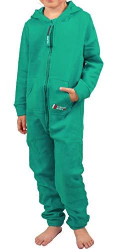 Gennadi Hoppe Kinder Jumpsuit - Jungen, Mädchen Onesie Jogger Einteiler Overall Jogging Anzug Trainingsanzug, grün,122-128