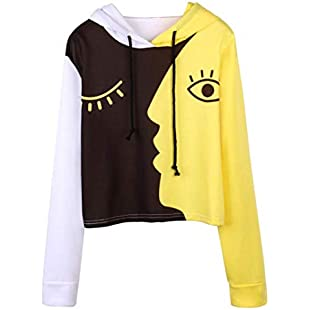Xmiral Women Sweatshirt Ladies Hooded Polyester Long Sleeve Crop Print Patchwork Blouse Pullover Tops (3XL,Yellow)