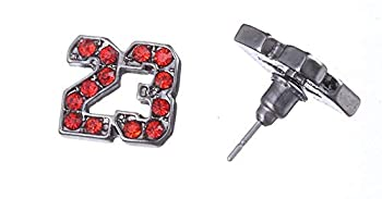 Class A Collection Silver - Plated Michael Jordan Logo Jumpman Earrings Red Rhinestone