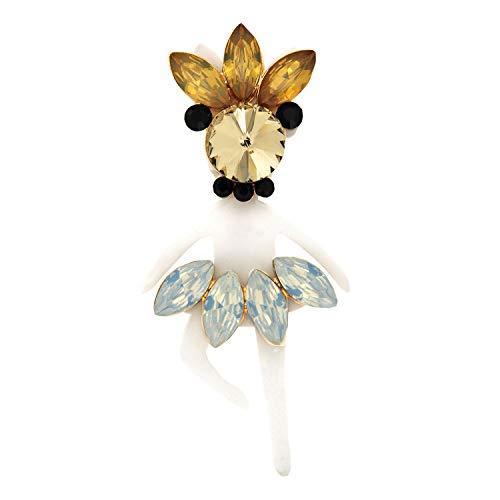 Sweet Deluxe Brosche Ballerina, weiß/Mix I ausgefallene Blusenbrosche für Damen & Mädchen I Frauen-Brosche für Abendkleid & Bluse I Anstecknadel