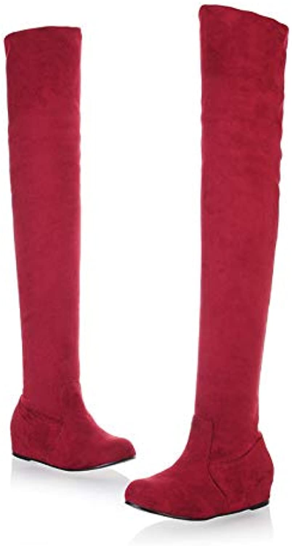 MENGLTX High Heels Sandalen Big Größe 34-47 Frauen Overknee Overknee Stiefel Woman Hidden Wedges Dress Schuhe Round Toe Platform Knight Stiefel 10 rot
