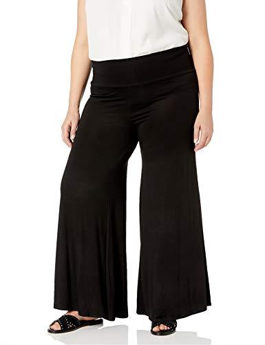 Star Vixen Women's Plus-Size Wide-Leg Palazzo Pant, Black, 3X