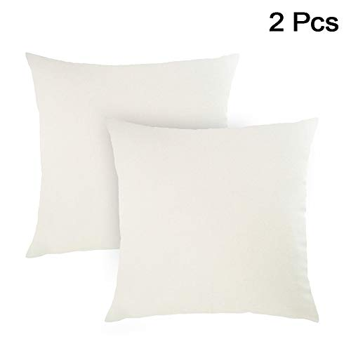 AllRight 2pcs Plain Dyed Cushion Covers 100% Percale Cotton Throw Pillow Case Home Decoration 18' x 18' White