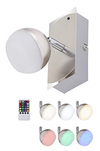 Briloner Leuchten - LED Wandlampe, Wandleuchte mit Farbwechsel, dimmbar, Fernbedienung, Wohnzimmerlampe, 3.3W, Spot dreh- und schwenkbar