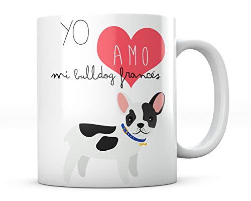PANISCUS Taza para Regalar Yo Amo Mi Bulldog Frances I Love Yo Quiero Regalo...
