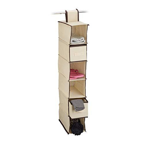 Relaxdays Étagère suspendue tissu pour armoire penderie HxlxP: 82 x 14,5 x 30 cm organiseur pliable 6 compartiments rangements 2 tiroirs, beige