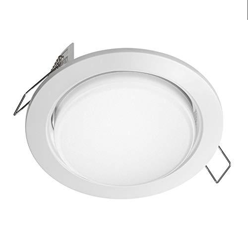 ledscom.de LED Anillo empotrable Zobe plano GX53 blanco redondo 6W=38W 420lm blanco de 3 pasos regulable con cualquier interruptor de luz sin regulador 107mm Ø círculo de perno 90mm Ø, 10 pcs.