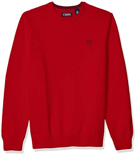 Chaps Men's Classic Fit Cotton Crewneck Sweater, Park Avenue Red, M